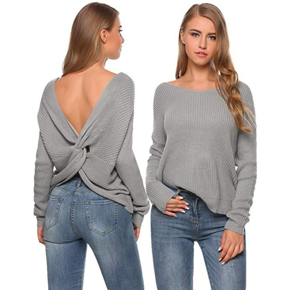 ebda7e6659  49 Gray V Neck Twisted Knot Back Sweater Gray